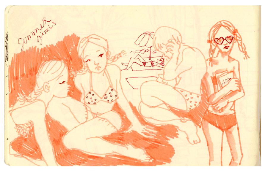 I was up late drawin some cute gals last night.  summerr timeeeee is a comin!