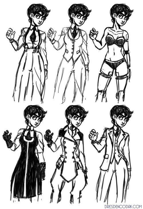 Kim costume study for upcoming Dark Science pages! I like the top middle one a lot.