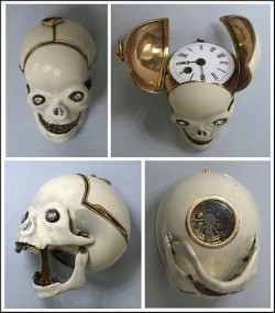 blackpaint20:   18k gold skull watch dates to 1810 and had diamonds for teeth and eyes.  The enameled skull opens up to reveal the watch face and there is a small glass port under the skull to watch the movement operate.  This watch sold recently for $18,000.