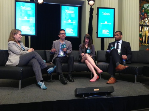 "President John Maeda took part in the second annual New York Ideas forum this morning at the New York Historical Society. Hosted by The Atlantic magazine, the conference gathered together hundreds of national thought leaders to discuss the innovations and technologies driving business today and to share their take on what matters most and what trends and reversals are coming down the pike. President Maeda participated in a panel along with MoMA curator Paola Antonelli, Darhil Crooks of The Atlantic and Jen Doll of The Atlantic Wire. He and Antonelli went back and forth about the expanded definition of design in the world, positing that ""Design has nothing to do with what's cool – it's about constructing an ecosystem to make choices"" (Maeda) and ""It's up to us to make sure design becomes a real tool for all of us"" (Antonelli). He also used the opportunity to introduce the audience to RISD's STEM to STEAM initiative, championing it as an answer to the prevailing question: How do we bring innovation back to America?"