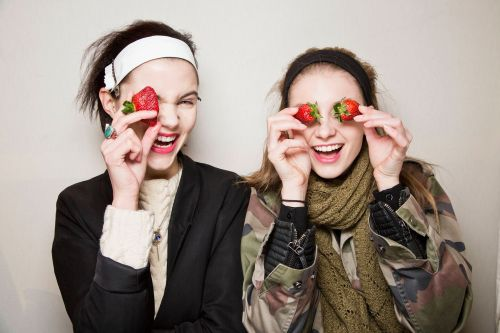 Play with your food! Models backstage at Carven's fall 2013 show in Paris. -Becky Malinsky  photo by Mark Leibowitz