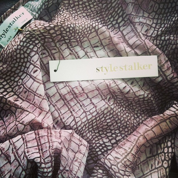 "I can't stop re-stocking these. Blush reptile print on the #stylestalker ""Runaway"" dress, back up for sale next month! #messes of #dresses #yearofthefox #fashion #patterns #fabric #design"