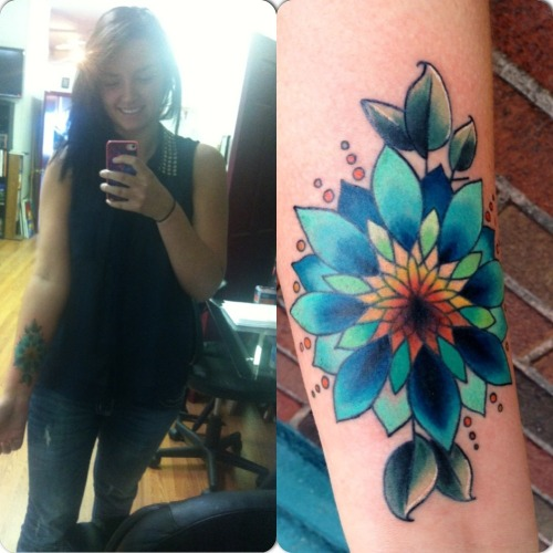 fuckyeahtattoos:  My wonderfully vivid Mandala cover-up by the great Kyle Adani at the Conception Gallery in St. Joseph, MI.  Instagram: @kyleadani  Picture was taken right after we finished, ink is still fresh.