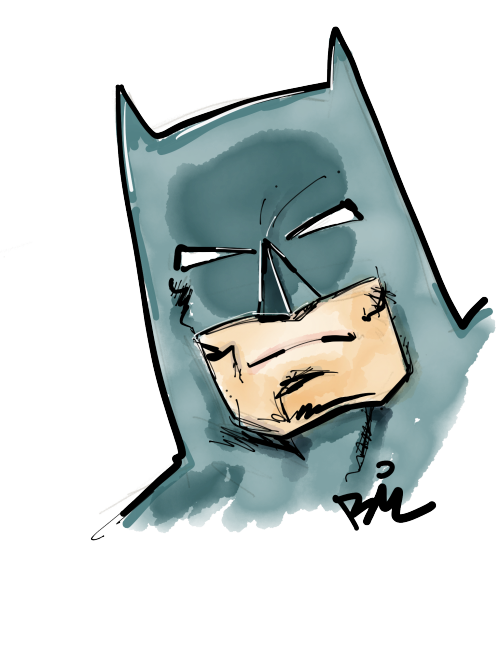 Quick Batman sketch. Trying out Paper vertically for some sketches, gives me more room. Unfortunately it doesn't upload automatically properly so it's a manual effort now.