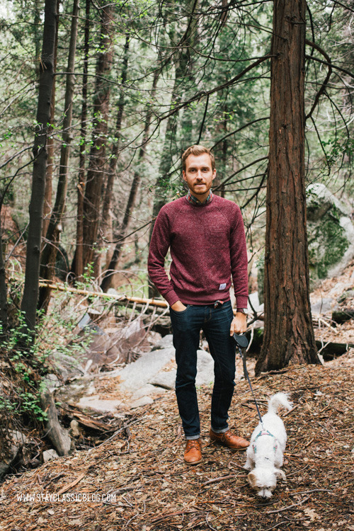 May 8, 2013. Hiking in the mountains. Sweater: Marled French Terry Raglan - Vive (via JackThreads)Shirt: J. Crew Factory (on sale) - $19Jeans: American Eagle - $26Boots: Dune - Topman - $120 (similar)Watch: Timex Easy Reader - Target - $29
