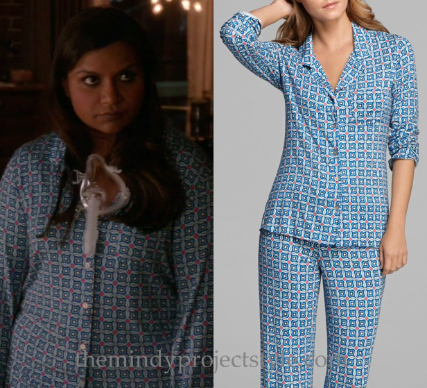 """Softnet wore these blue tiled print pajamas (with her sleep apnea mask and mouthguard) in """"What About Peter?"""" Josie Illusion Print Pajama Set"""