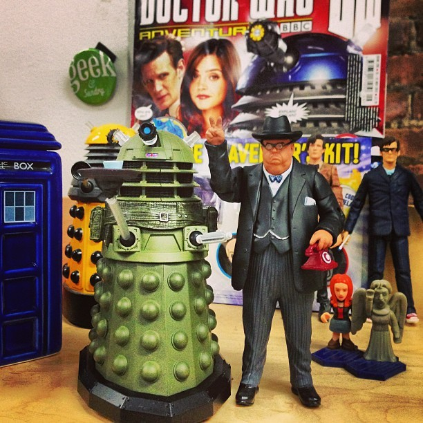 gunsandrobots:  Thanks to the amazing zarafs my Doctor Who Shrine @blip continues to grow with the addition of Tea-Time Dalek and WINSTON CHURCHILL!   Are you going to need another desk just for your Doctor Who collection, Brandon? :)