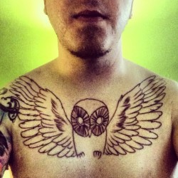 It begins. Thank you @machomansandiravage #tattoo #owl #denver #outline