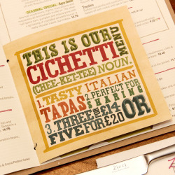 type-by-tobias:  Zizzi cichetti menu that i did a while back.