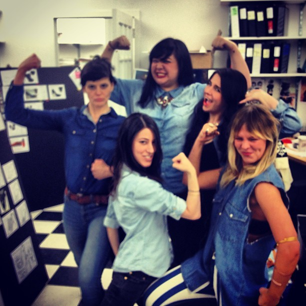 It's denim denim denim day at the office!!!!! @jolielaide84 @maidebrasil #denim #canadiantuxedo #twins #friends #bffs #pourlavictoire #kelsidagger #frenchconnection (at PLV Studio)