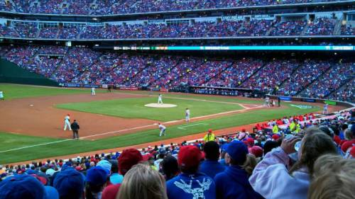 The Rangers are on the mound, the Angels have a man on 3rd, & Darren Fauth had this great view of the plays at Rangers Ballpark from along the 3rd baseline. (via Rangers Ballpark section 15 row 28 seat 12 - Texas Rangers vs Los Angeles Angels shared by Darren Fauth)