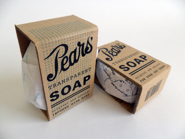 "thedsgnblog:  Kieran Reilly   |   http://kieranreilly.com ""Pears Soap was something I always remembered my Granny having when I was little. Where did it go? I tried to bring back a nostalgic feeling to the soap by using elements the company had previously discarded in order for a more 'contemporary look'. I redesigned their logo, wrapped the soap in a wax map because I felt the soap had really forgotten where it came from.""  Kieran Reilly is a graphic designer, based in Glasgow, Scotland. Focused on advertising, branding and typography. the design blog:  facebook 