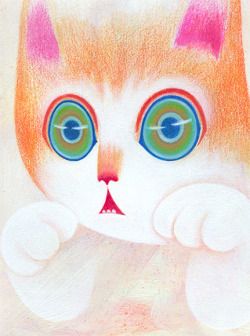 Miao. mesmerizing.  Acrylic paint and colored pencil on paper.