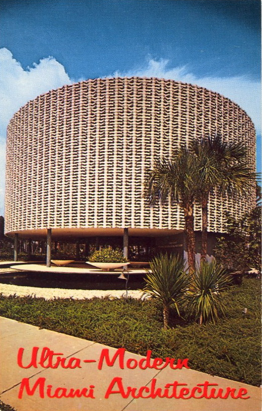 bad-postcards:  ULTRA-MODERN MIAMI ARCHITECTURE   MIAMI, FLORIDA One of Miami's unusual architectural achievements in office buildings. The Perry Nichols Building