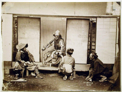 historyinphotos:  Samurai with his retainers. 1860s.