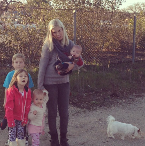 "Tori Spelling, Tori Spelling's dog, and Tori Spelling's eleven children had a sad end to their road trip when their car broke down yesterday. The only thing worse than being trapped in a car with these people would be being stranded on a roadside with these people. I just have one question, and that is … What is a ""road trip""? I only travel via Learjet and helicopters."