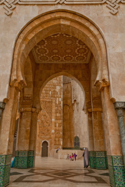 Arches at Hassan II Mosque, Morocco.  Photo taken by Karim Taib