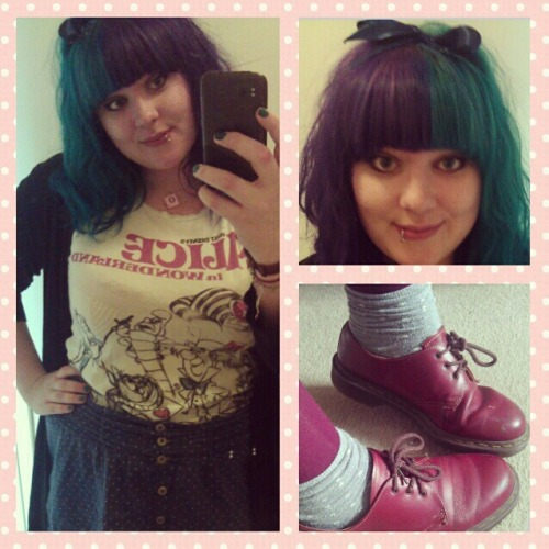 obsidianravenmcboverall:  Ootd Top;Asda Skirt; H&M Cardigan;Found Shoes; Dr.Martens shop