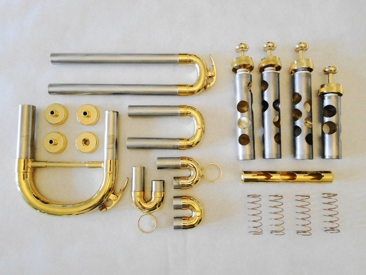 euphoniumawareness:  The tuning  slides, valve caps, valve springs and valves from a euphonium.