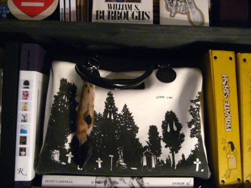 My dreamy DEVASTEE bag and Deer paw keychain Ryan made me.. Up on the shelves in the dressing room with some of my massive collection of favorite books and zillions of old motorcycle/porno/life/fashion mags…