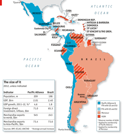 westernhemisphereanalysis:  (via Latin American geoeconomics: A continental divide | The Economist)  An interesting geopolitical and economic divide in the region. Let me also add that I've never understood the ALBA treaty. None of the countries involved in it share borders (although Cuba and Haiti are very close—but not stellar trade partners in any case). On that score alone, the Pacific Alliance seems to have a decided advantage. Most members share a border with another member, with the exception of Mexico—but this could be made up by its sheer volume. Additionally, even with the size of Chile's economy, overall it seems like the Pacific Alliance is more balanced even than Mercosur (which saddles up giants like Brazil with middleweights like Argentina and featherweights like Paraguay and Bolivia). The one saving grace, of course, is that most ALBA members are also Mercosur members. And Mercosur makes a lot more sense than ALBA. Besides, I always assumed ALBA was really just a way for Venezuela to play regional hegemon (since Brazil is so clearly top dog in Mercosur). Still, it's curious to see Latin America essentially split along Atlantic/Pacific dimensions into two potential rival trade blocs.