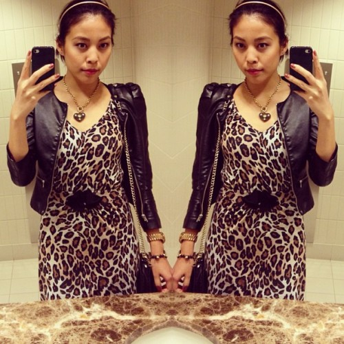 Blending in with the bathroom sink. // #ootd #ootn // #zara #leopard print dress // #hm #fauxleather cropped jacket // #bebe necklace