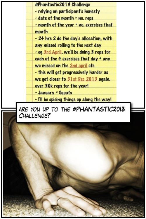 #Phantastic2013 Challenge Here we go!! It's been a great uptake and as of 4th Jan 13 we've around 45 people signed up to the challenge already.  There's still time for others to join, so let's get recruiting!  The more people that join up, the harder it'll be to not succeed!!  Great daily motivation!! Check out the goals tab of our #TeamMotivation calendar to see who else you'll be exercising alongside throughout the whole year!! As each new month approaches, I'll make sure to post a video of the next exercise/discipline we'll be adding. For February, we'll be adding Side to Side pressups and so on.  Download this handy spreadsheet I've put together, which should update every time you open on your mac/pc.  The main information you need to look at, I've highlighted yellow (Column F, Rows 21-24).  Rows 48 onwards shows you the daily breakdown of the exercises up til the end of the challenge!!  The only exercise/discipline you'll need to remember for the month of January will be the Squat. Check out my video here.  Throughout the year, and to help keep you all motivated, I'll be spicing things up along the way too, so watch out for these suggestions too!! I'm on twitter/facebook/www.michaelphan.co.uk, should you have any questions about the challenge.  Really excited about this one and looking forward to spurring everyone on.  Right, now to do my 4 squats of the day…