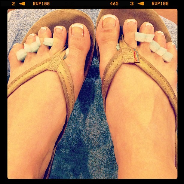 Today I've had French fries and a French pedicure… If things happen in 3's, a French kiss is up next.  (at Great Nails and Spa)
