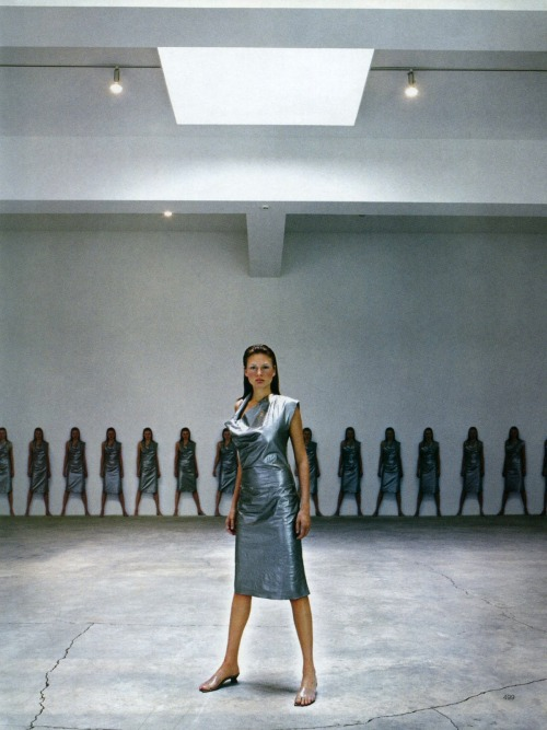 saloandseverine:  Vogue Paris April 1998, Silver Bridget Hall by Raymond Meier
