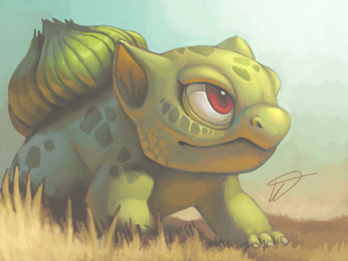 videoisvideo:  twarda:    Bulbasaur painted on Nintendo 3DS. Began in a bus, 1/2 was done at university and another bus, then ended at home.    painted on Nintendo 3DS.