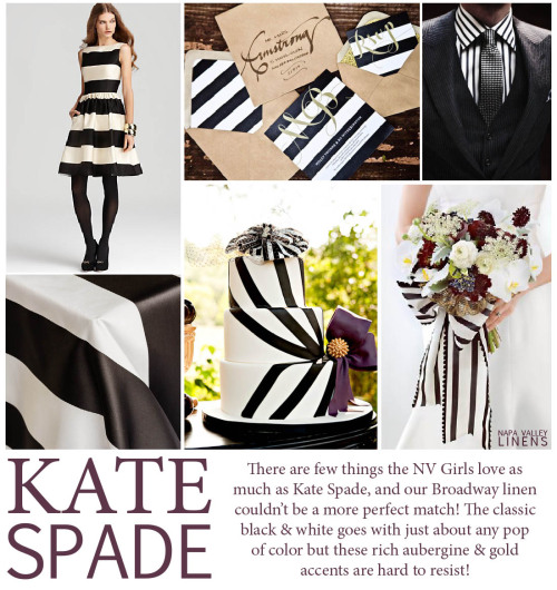 A Kate Spade inspired board for Napa Valley Linens! Clean, classic black & white stripes with aubergine & gold accents!