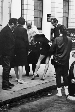 "steroge:  Outside the Windsor Hotel (Bardot in London), 1966         ""Brigitte Bardot is making her way to The Windsor Hotel where she will be filming Two Weeks in September. In this movie Bardot plays a young Frenchwoman who is married to a much older Englishman but for two weeks in September finds new love in London. Torn between the stability of her husband and the adventure of her lover, the films tagline deduces Bardot has 'loved as no woman has loved before!'""         (London Express)"