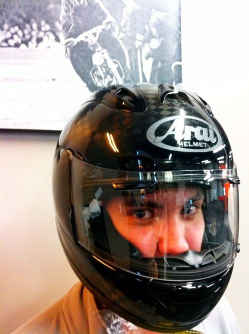 Arai Corsair V Race Carbon anyone? Today's better than Christmas. Posted from: PA, USA Finally got our first shipment today. Super geek. See the Arai Corsair V Helmet