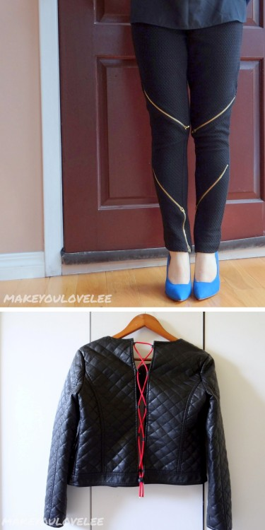 "DIY Multiple Zipper Pants and Laced Back Leather Jacket Tutorials from Make You Love Lee. The zipper pants tutorial is here. The laced leather jacket tutorial is here. How do I find ""new to me"" blogs that other big bloggers then later say they've ""discovered""? I get messages on Tumblr from bloggers and actually check out their blogs and then follow them on Bloglovin."