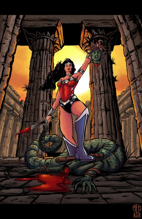 "Wonder Woman versus Medusa by Cynthia ""Thea"" Rodgers, color by Amanda Rodgers From CBR's The Line it is Drawn"