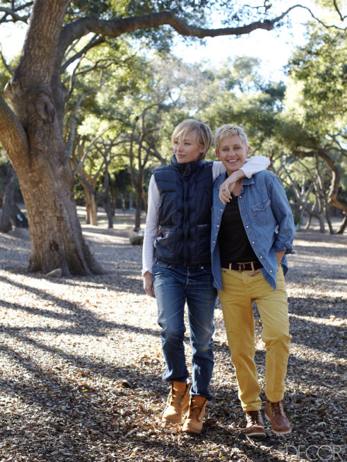 ellen-degeneresfan:  Portia de Rossi and Ellen DeGeneres at their ranch in Hidden Valley, California, which DeGeneres designed with Jay Holman and Cliff Fong.