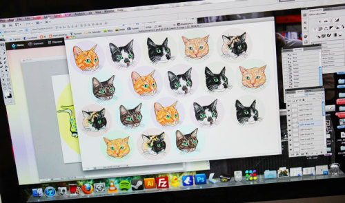 Cat pinback buttons and stickers in the making! Available here.