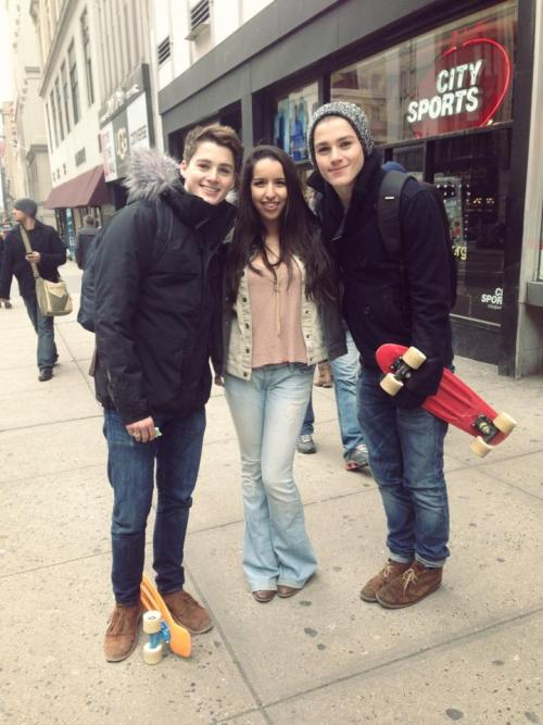 i met jack & finn today! omg i look terrible but they were really nice and hotter in person! we were walking down 5th ave and these guys were telling us to buy tickets for the empire state building so we turned around and all of a sudden jack & finn were behind us buying tickets for the empire state building! they were in a rush and took pics with everyone and told us to come (politely, but like, still!!) but $49 for the empire state building oh my overpriced i dont even have $49 to my name. anyways to sum this up, really nice, really hot, really happy i met them!