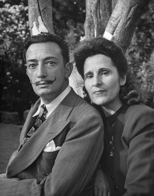 life:  Happy birthday, Salvador Dali.  Pictured: Salvador Dali with his wife Gala, 1945. See more photos by Martha Holmes here. (Martha Holmes—Time & Life Pictures/Getty Images)  Dali!