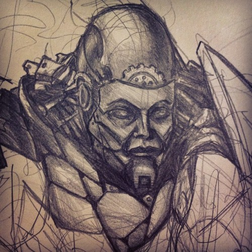 #sketchaday #raygreaves #scifiart #machine #cyborg #steampunk #soldier #doodle
