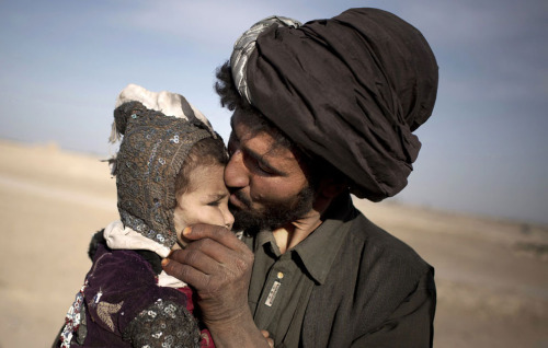 AfghanistanAn Afghan nomad kisses his young daughter while watching his herd in Marjah, Helmand province, Afghanistan. In southern Helmand province, one of Afghanistan's deadliest battlefields, angry residents say 11 years of war has brought them widespread insecurity. They say they are too afraid to go out after dark because of marauding bands of thieves and during the day corrupt police and government officials bully them into paying bribes. Development that was promised hasn't materialized and the Taliban's rule is often said to be preferred. AP Photo/Anja Niedringhaus
