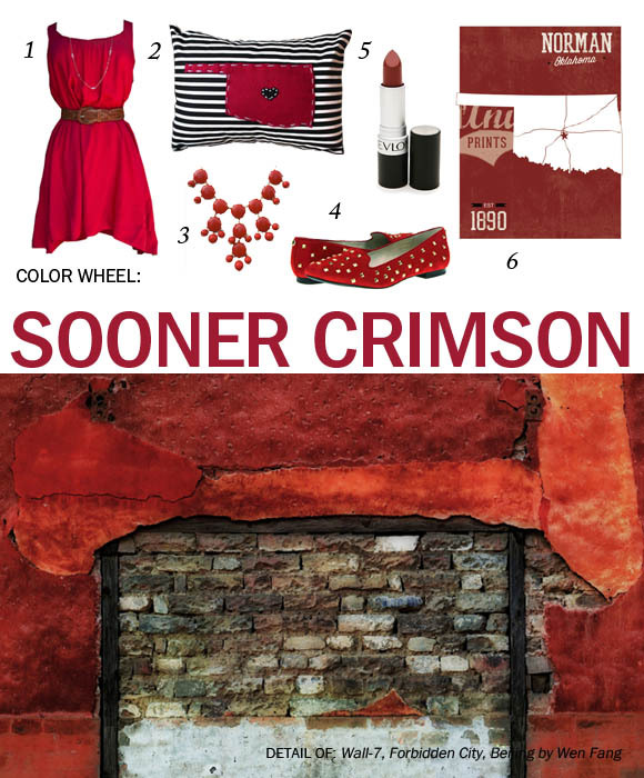 THE COLOR: Sooner Crimson THE ART: Wall-7, Forbidden City, Beijing by Wen Fang FOUND: 1. Red Dress found at Blush / 2. Oklahoma Pillow found on Etsy / 3. Red Bubble Necklace found on Marley Lilly / 4. Michael Kors Aria Flat found on Zappos / 5. Revlon Matte Lipstick In the Red found on Polyvore / 6. University of Oklahoma Print found on Etsy