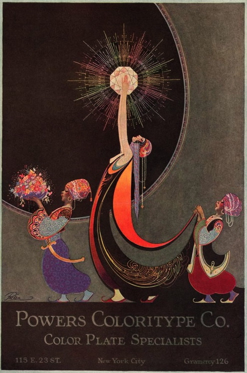 "maudelynn:  Gorgeous 1920s Fred L Packer art work for  ""Powers Coloritype Co.Color Plate Specialists"" via http://oldadvertising.blogspot.com/ (and now I am off into my day with teeny tiny Iris .. Venice may be on the menu! queue on  xo xo )"