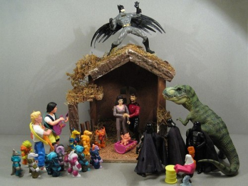 "This is a seriously awesome nativity scene. We've never seen a geekier crèche.   ""Who needs religious icons when you can have Angel Batman, Shepards Bill and Ted, Three Wise Vaders, Ryker and Deanna Joseph and Mary and uh, T-Rex. I think he's subbing in for a barn animal. Peace on Earth, and goodwill toward fictional men.""   [via Nerd Approved and Unreality Mag]"