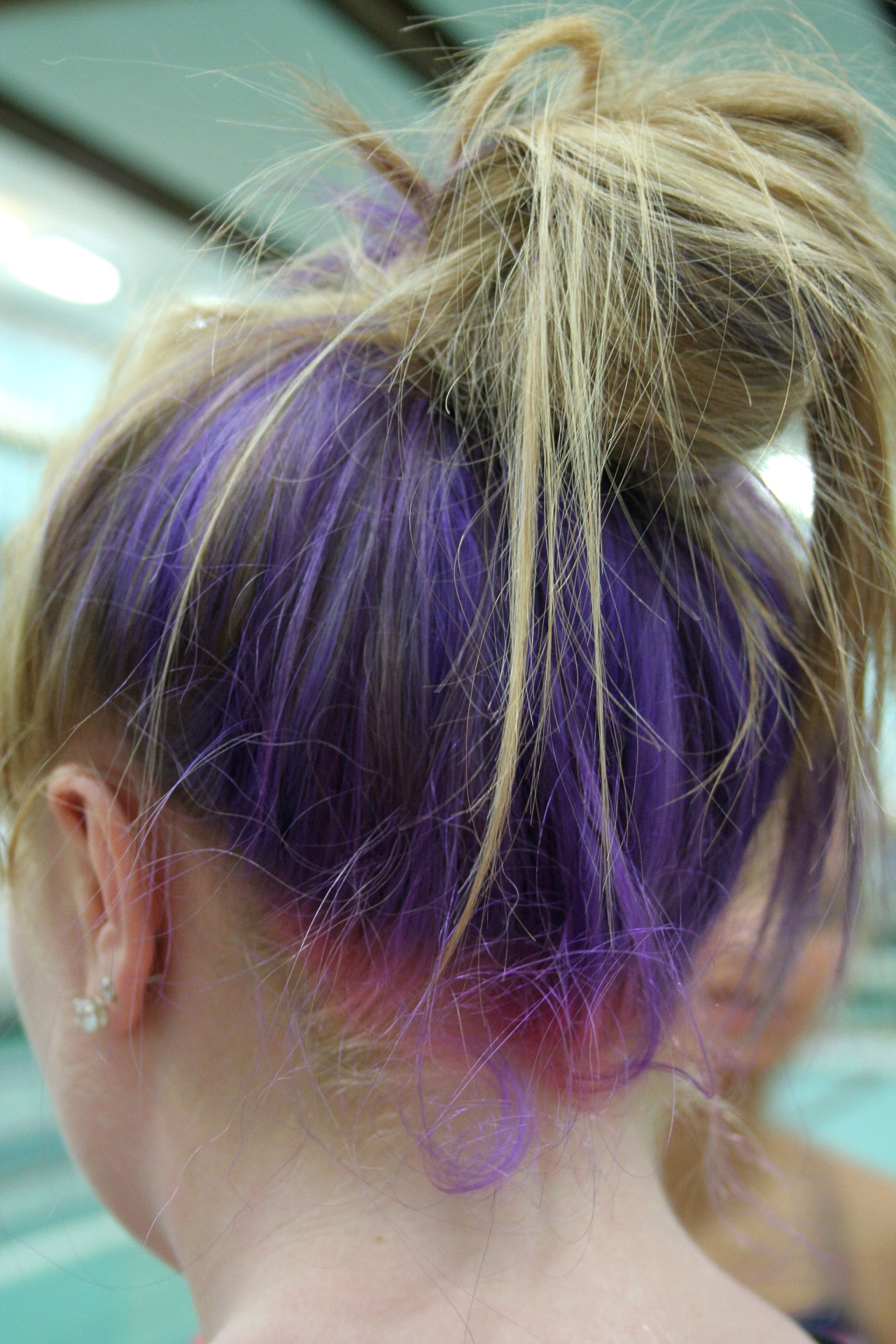 This girl on my swim team has purple hair too!