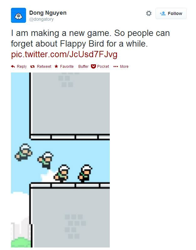 Dong Nguyen teases a screen shot of new game that'll help us forget #FlappyBird @dongatory