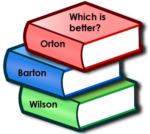 Which is better: Orton, Barton or Wilson?  What are the pros and cons?  What are your experiences with these methods?  Have you tried more than one?  (FYI: Barton and Wilson are based on Orton but with different twists.  For example, Barton is more scripted).   For more information about each of these methods and a comparison of Barton and Wilson, click the links below: Orton: http://www.orton-gillingham.com/ Barton: http://www.bartonreading.com/ Wilson: http://www.wilsonlanguage.com/ Comparison of Barton and Wilson: http://forums.welltrainedmind.com/topic/13713-wilson-reading-system-vs-barton-reading-spelling/ What do you think?