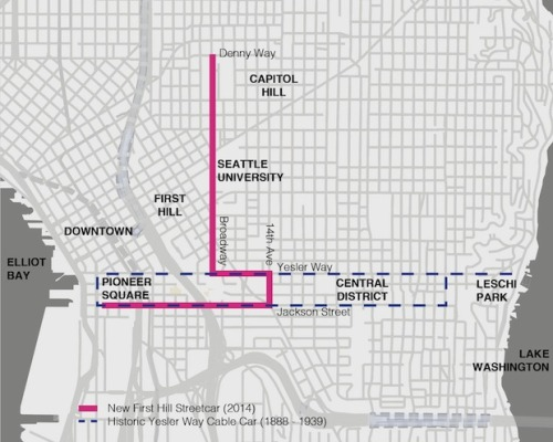 thisbigcity:  It might not look like much, but this pink line represents one of the biggest public transport developments in Seattle since the 1940s. The cable cars are coming back! More here.
