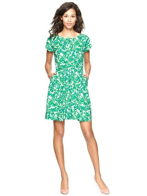 Printed Flare Dress - $59.95, Gap I am totally in love with Gap's new spring arrivals. Especially this dress. Of course, it is sold out in Tall in this gorgeous teal color. Boo!
