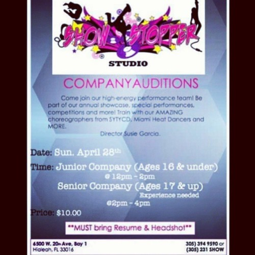 April 28!!!!!!!!! Don't miss out on this amazing chance to become apart of the @showstopperstudio company. Ask me any questions if you have